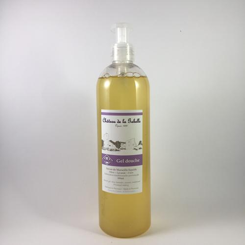 Natural treatment for the shower and organic with olive oil lavender essential oil and coconut