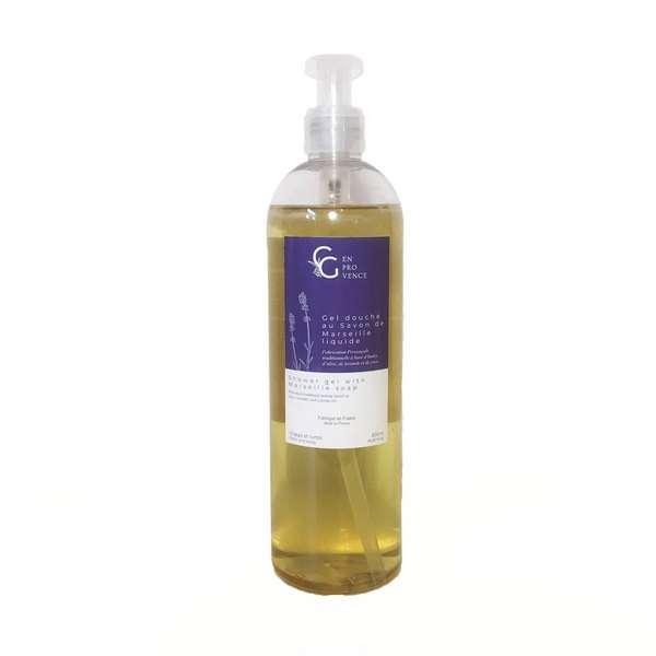 Soin pour la douche naturel et bio à l'huile d'olive et aux huiles essentielles de lavande fine de Provence fabriqué en France