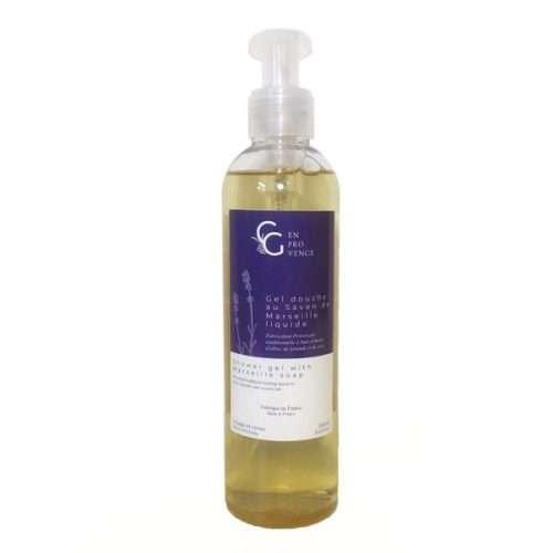 Gel douche naturel fabriqué en France avec de la lavande de Provence et du vrai savon de Marseille à l'huile d'olive pour un soin doux et se détendre sous la douche