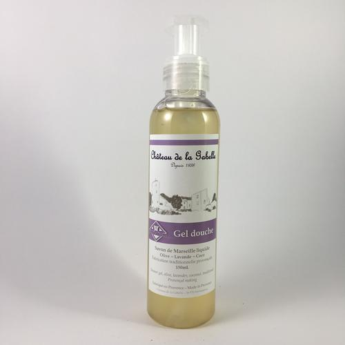Provence lavender soap and shower gel as natural skincare treatment for relaxation with olive oil and coconut