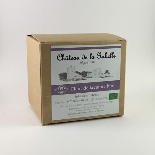 Infusion of organic fine lavender from Provence in box of 20 bags anti-stress and for relaxation