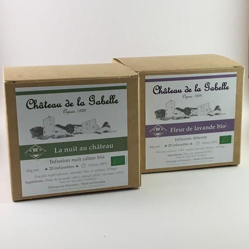organic herbal tea with lavender lime tree and verbena from Provence for relaxation
