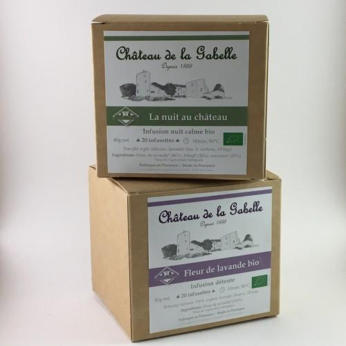 Organic infusion made with lavender verbena and lime tree from Provence for a natural recipe against stress and anxiety to stimulate relaxation calm and sleep aid