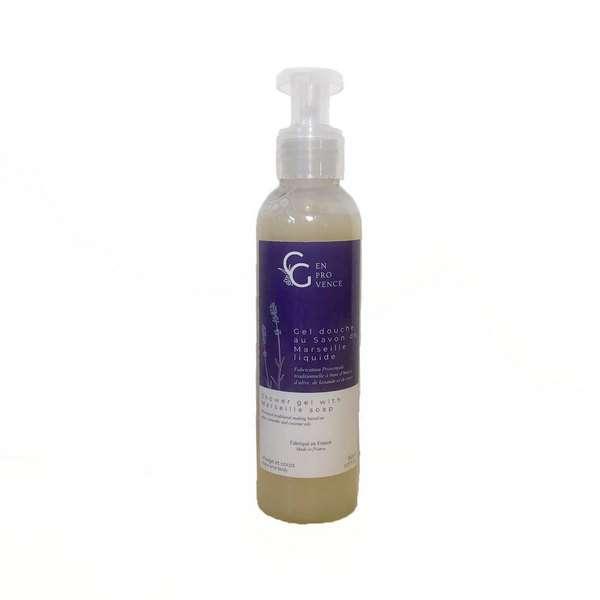 Gel douche à la lavande bio avec de l'huile de coco sans actifs moussants et aux extraits naturels fabriqué artisanalement en Provence