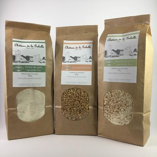 Einkorn is known as the caviar of the cereals and is declined in flour flakes or grain for healty and organic food from provence direct selling grower
