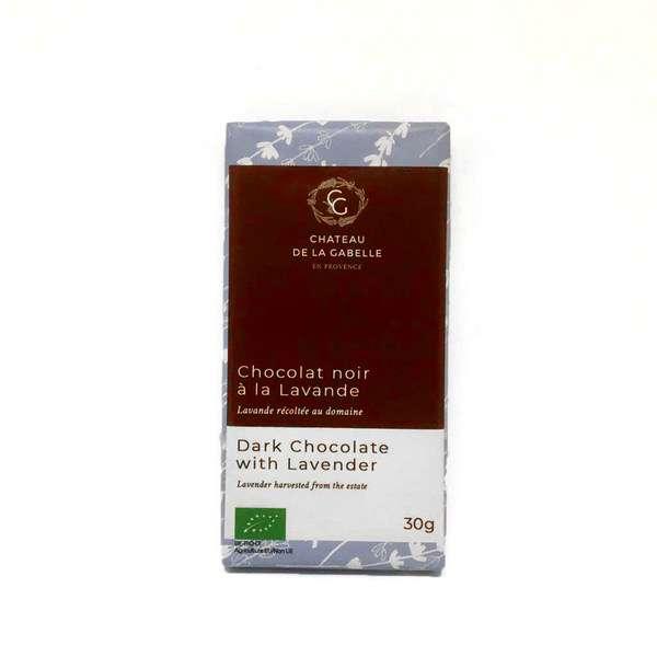 Chocolat noir à la fleur de lavande bio de Provence fabriqué avec du chocolat belge et de la fleur de lavande cultivée en Provence selon le mode de l'agriculture biologique