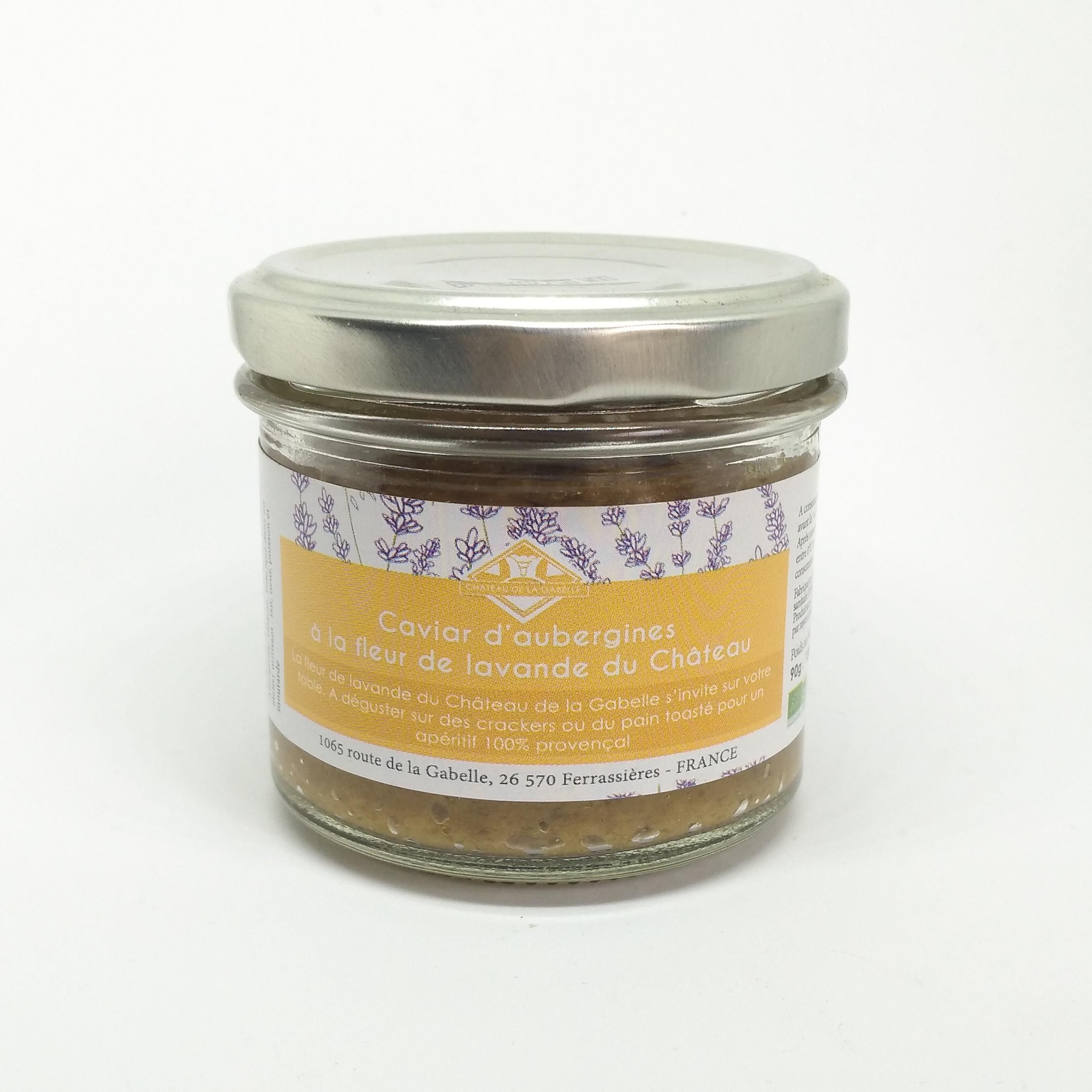 Caviar d'aubergine bio à la fleur de lavande de Provence fabriqué artisanalement et localement