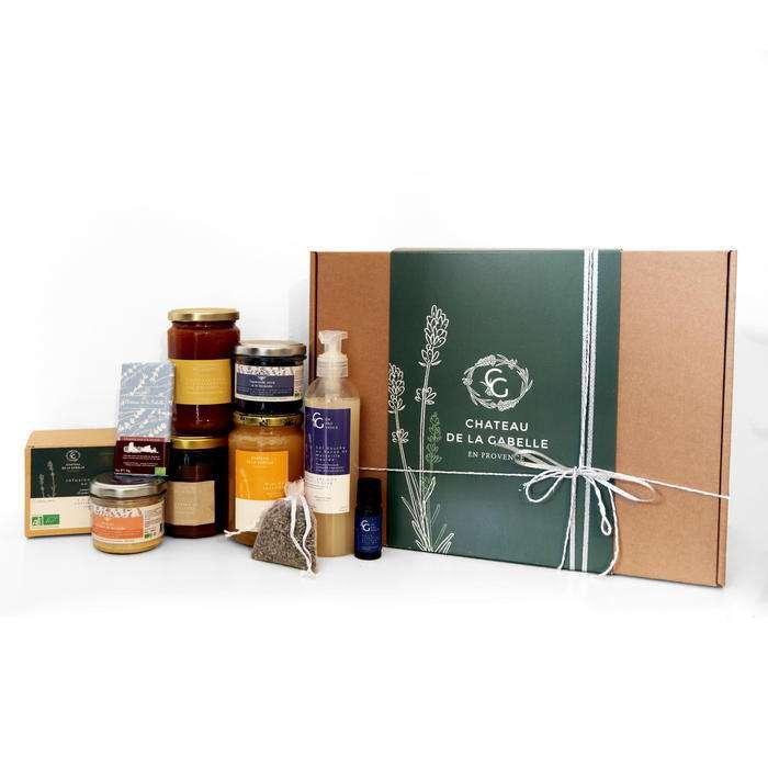 Panier garni de noël 2020 composé par des spécialités locales bio artisanales et fabriqués en France