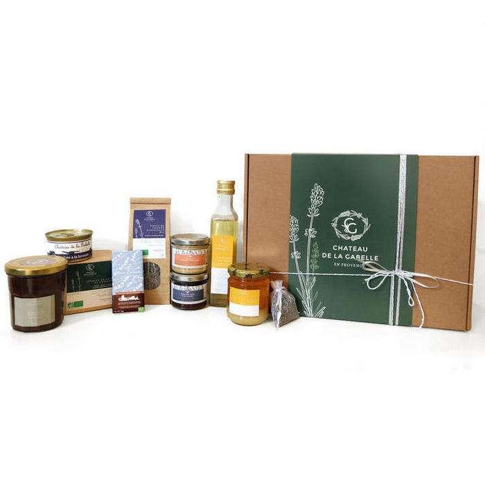 Idée cadeau de noel avec cette composition de produits d'épicerie fine de provence bio et en achat direct au producteur dans les alpilles