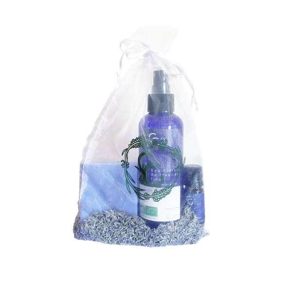 cadeau lavande pour les amoureux de la Provence qui contient une huile essentielle de lavande bio, une eau florale de lavande bio et un savon de Marseille sans huile de palme et fabriqué artisanalement
